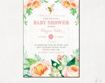 FAIRY Baby Shower Invitation. Floral Shower Invite. Watercolor Flowers Digital Invitation. Woodland Fairies Party. Baby Girl Pink Gold FA1