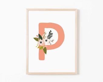 Coral Bloom P Nursery Art. Nursery Wall Art. Nursery Prints. Nursery Decor. Girl Wall Art. Personalized Wall Art. Monogram Art. Floral Art.