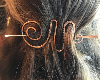 A large swirls peaks and valleys shawl pin scarf pin or hair pin in a solid copper -  Hair barrette • hair accessory • hair slide • brooch