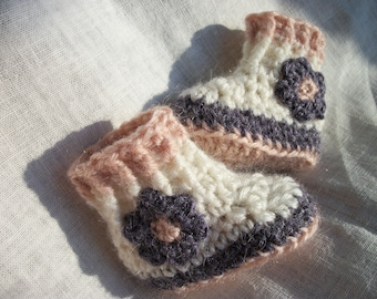 """Waldorf doll shoes, alpaca, waldorf doll sweater, wool, doll boots,  sole approx 3.5"""" long and top is approx 3"""" high"""