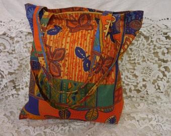 Linen Tote Bag -  Grocery Bag - Shopping Bag  - Multi coloured - Handmade