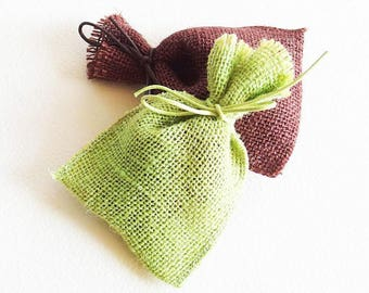 2 bags cloth bags, way painting of burlap with waxed cotton cord - spring green and Brown - 12 cm x 9 cm - gift wrap