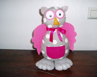 Juliette the OWL decoration made of felt and grey fabric with white polka dots