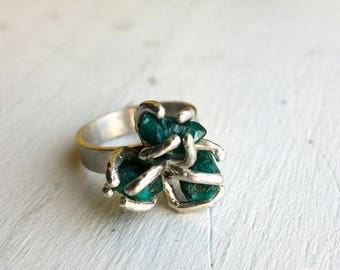 Green Dioptase Cluster Cocktail Ring Handmade Sterling Silver Raw Gemstone Jewelry