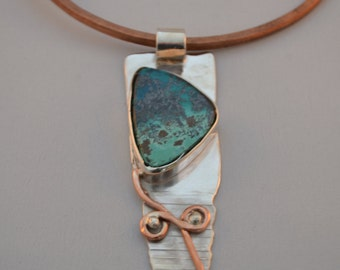 Silver & Copper Pendant with Chrysocolla Gem Stone
