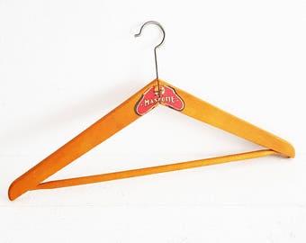 French Wooden Hanger Vintage, Wood  Hanger. Mascotte, French Wood Clothes Hanger, Wardrobe Hanger. French Label Vintage