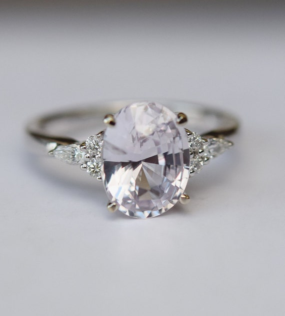 rings engagement diamond light cushion white sapphire lavender ring media gold