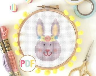 PDF Cross Stitch Pattern - Easter Bunny Rabbit