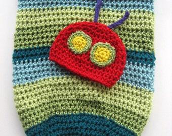 Ready To Ship - Handmade Crochet Caterpillar Cocoon and Hat - Newborn Crocheted Caterpillar Photoprop