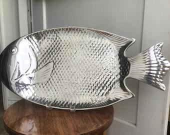 Vintage Cast Aluminum Massive Fish Platter
