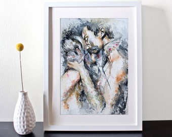 Watercolor Print -  Still In Love - Art print of couple in love.
