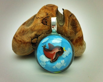 Handpainted Resin Pendant - flying sparrow with cloudy sky background - sterling silver bail