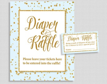 Diaper Raffle Tickets & Sign, Blue and Gold Glitter Confetti, Baby Boy Shower, Bring a Pack of Diapers, DIY Printable, INSTANT DOWNLOAD