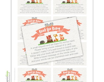 Woodland Coed Book for Baby - Please Bring a Book Instead of a Card Insert DIY Printable INSTANT DOWNLOAD (Digital File Jpeg and Pdf)