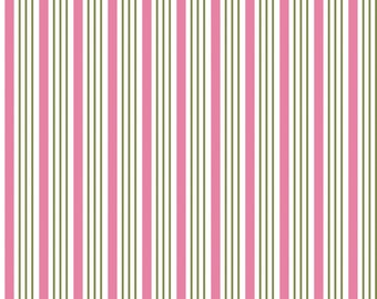 SALE Riley Blake Fabric by the yard -Song Bird -  Pink Stripes