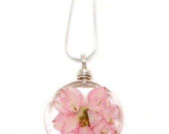 Pink Larkspur Flower Necklace - Real Pressed Flower Encased in Resin - Pressed Flower Jewelry - Resin Necklace - Wire Wrapped Pendant