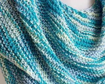 Asymmetrical Shawl, Cotton Shawl, Large Scarf, Summer Scarf, Cruise Wear, Blue Turquoise Sea Glass Colors