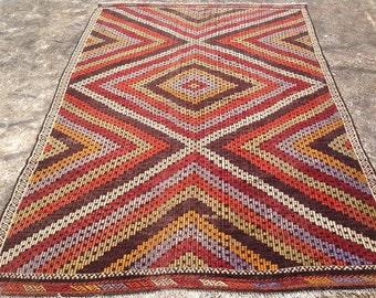 """6x9 area rug, Multi colored Kilim rug, Diamond design rug, 108'' x 72"""" Vintage Turkish rug, large area rug, natural wool rugs, Turkish, 551"""