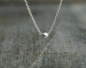 Disco Ball Necklace / Tiny Single Faceted Sterling Silver Pendant on Sterling Silver Chain / Party and Celebrate Simple Dainty Necklace