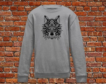 Wolf sweater, animal sweater, wolf tattoo, tattoo shirt, classic tattoo art, old school sweater, hipster gift, gift for tattoo lover
