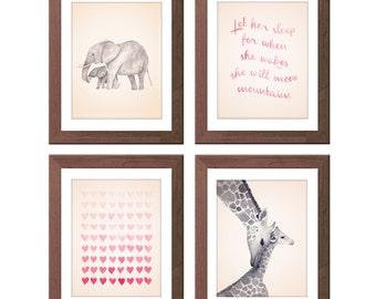 Mom and Baby Art Set - Girl's Nursery Art - Elephants and Giraffes - Pink and Gray Art - Watercolor Hearts - Let Her Sleep Print - S432