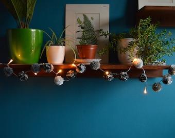 Pom Pom Garland - Battery Fairy Lights - Grey Decor - Marbled Decor - Warm White Fairy Lights - LED Hanging Lights - Interesting Decor