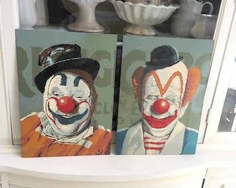 Vintage Paint By Number Pair of Clowns