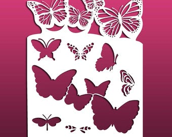 Butterfly Shaped Edge Stencil for Painting, Art Journals, Signs and Home Decor - Mylar, 7 mil Reusable Stencil