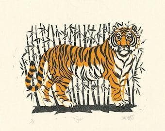 Tiger, Original linocut print of Tiger,Tiger original art, two colour linocut print of Tiger, great gift, hand printed.