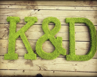 Three 24 inch Moss Letter Moss Covered Monogram Letters -Moss Covered Letter Initial Wedding Home Door-I have made 100s of these