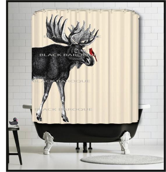 Moose Cardinal Shower Curtain moose animal shower curtains