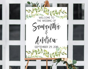Greenery Wedding Sign, Boho Welcome Sign, Custom Botanical Wedding Sign, Wedding Welcome Sign, Tropical Baby Shower, Tropical Bridal Shower