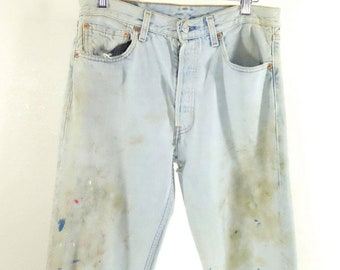 Levis 501 Thrashed Paint Stained Light Washed Jeans