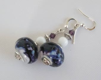 Earrings: White and purple - handmade glass Lampwork