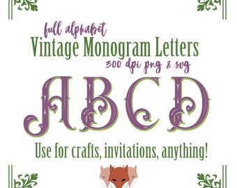 Vintage Style Letters for your Monograms Full Alphabet SVG and PNG