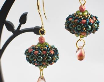 Green rose beaded ball earrings Ball jewelry Statement earrings Dangle earrings Seed bead eardrop Bon bon earrings Bead jewelry Gift for her