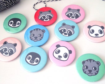 Party Bag Badges /Stocking Filler - Cute Animals - Personalised Name Badges