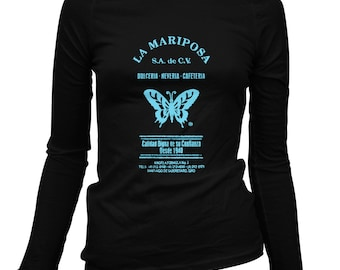 Women's La Mariposa Long Sleeve Tee - S M L XL 2x - Ladies' Butterfly T-shirt, Vintage, Mexico, Butterflies - 2 Colors