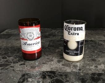 Soy Candles using Recycled Beer Bottles