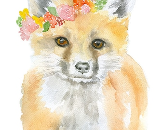 Fox Floral Watercolor Painting 4 x 6 - Giclee Print Reproduction - Woodland Animals - Girls Room Nursery Decor