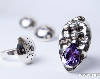 Handmade sterling silver and amethyst ring