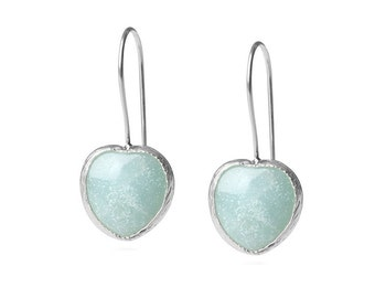 Blue Heart Amazonite Earrings, sterling silver, french hook, blue heart earrings, heart earrings, blue amazonite earrings, dangle earrings