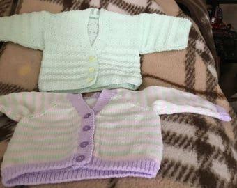 "2 new hand knitted 18"" prem/babies/dolls mint/striped woollen cardigans"