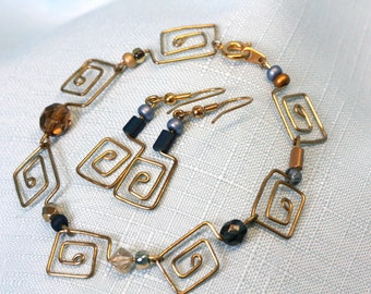 Handcrafted Paperclip Jewelry- Spiral Square Set