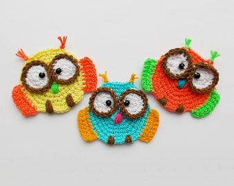 Crochet pattern applique owls