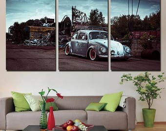 3 panel - vintage car wall art