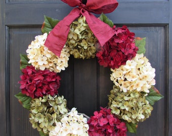 Burgundy Red, Cream (Off-White) and Green Faux Hydrangea Wreath with Bow for Christmas Holiday Front Door Decor; Small - Extra Large Sizes