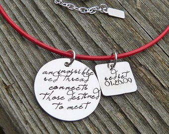 An Invisible Red Thread...an Adoption Necklace...Personalized...Solid Sterling Silver Hand Stamped and Red Greek Leather OR Sterling Chain