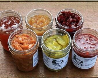 Gourmet Mothers Day Food Gift six 8 oz Jars: Jams, Jellies, Chutney, Preserves