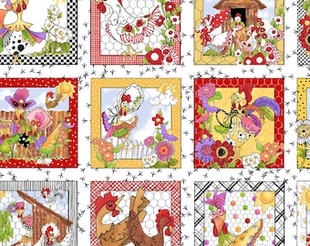 Chicken Fabric, Fanciful Chickens, Colorful Poultry  - Chique - Loralie Fabric - LOD 692 222 - Priced by the Panel